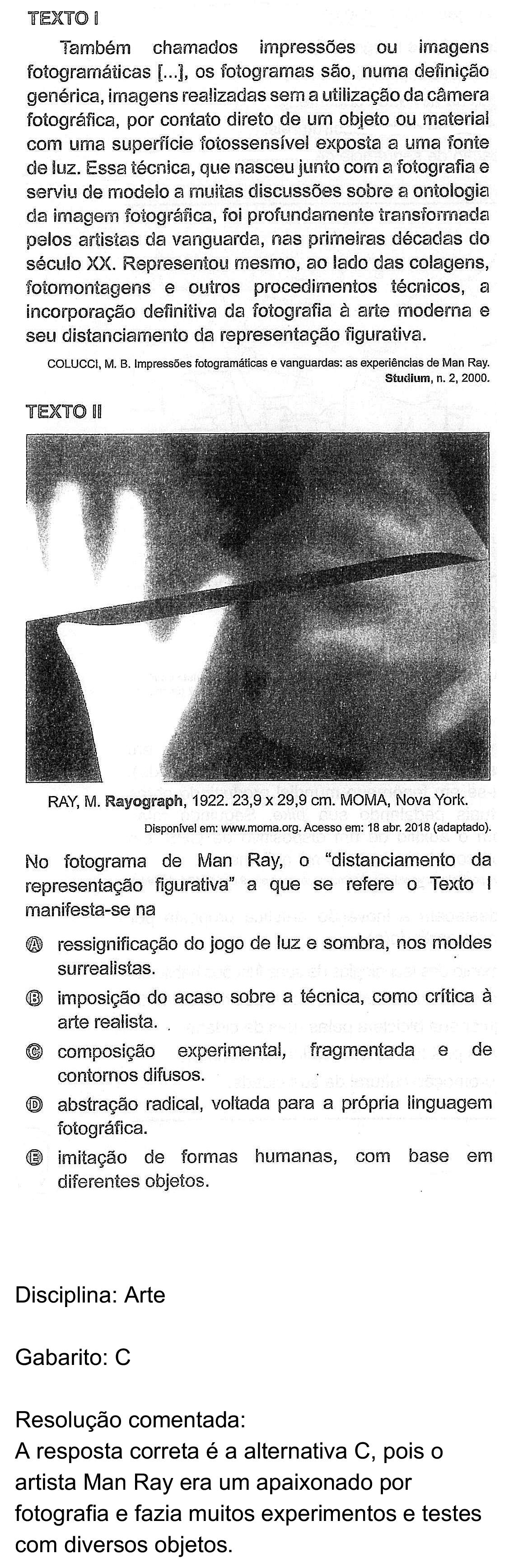 Resolução da questão 43: Prova Rosa do ENEM 2018.