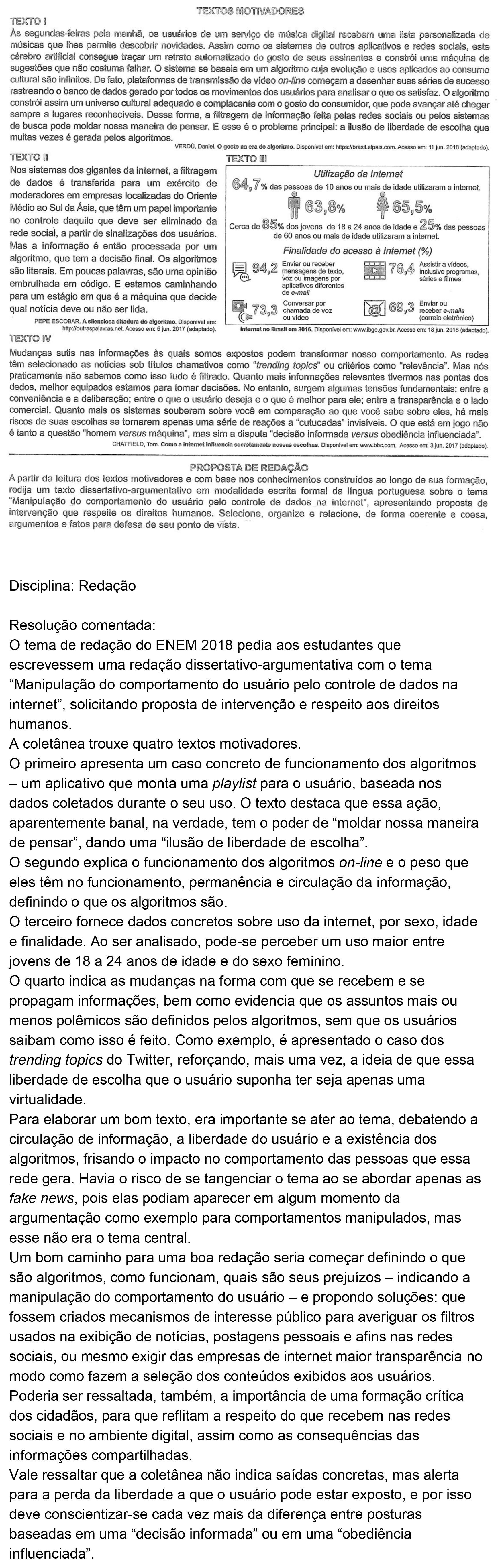Resolução da questão 0RED: Prova Rosa do ENEM 2018.