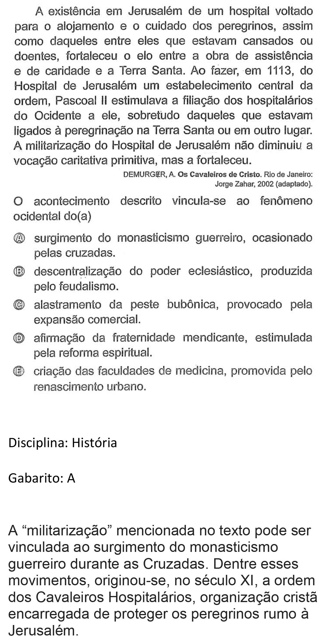 Resolução da questão 58: Prova Amarela do ENEM 2018.