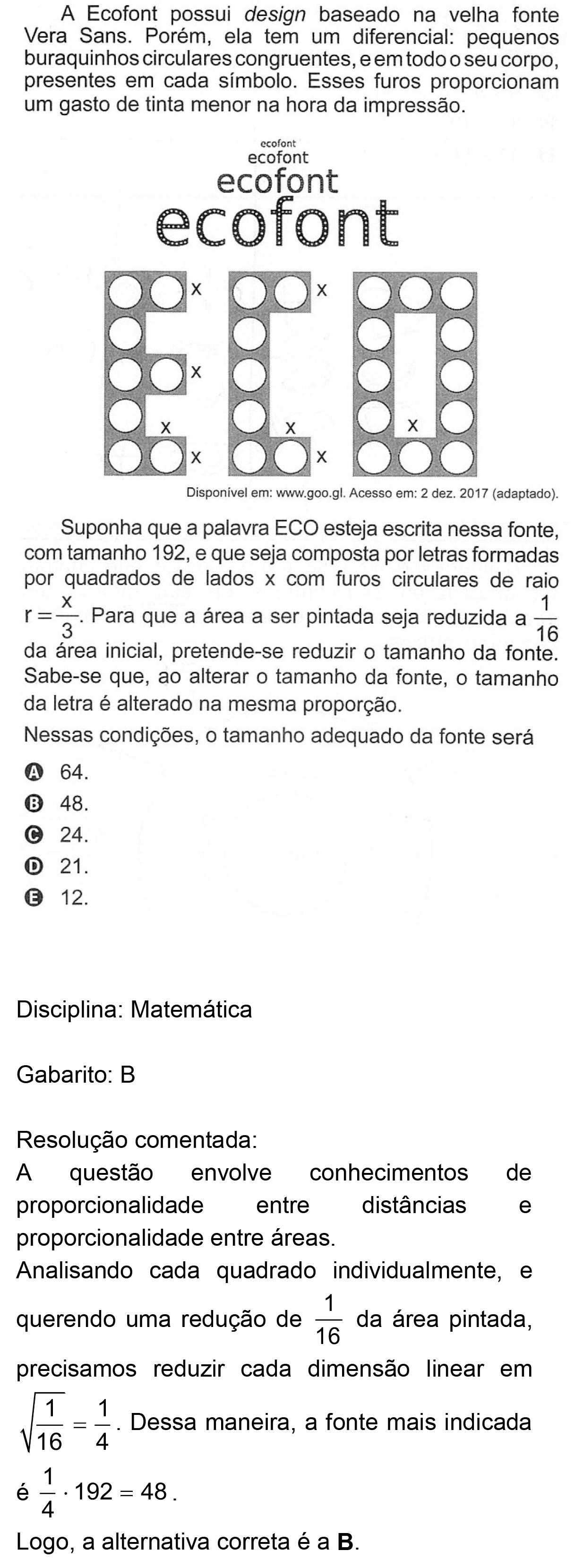 Resolução da questão 157: Prova Rosa do ENEM 2018.
