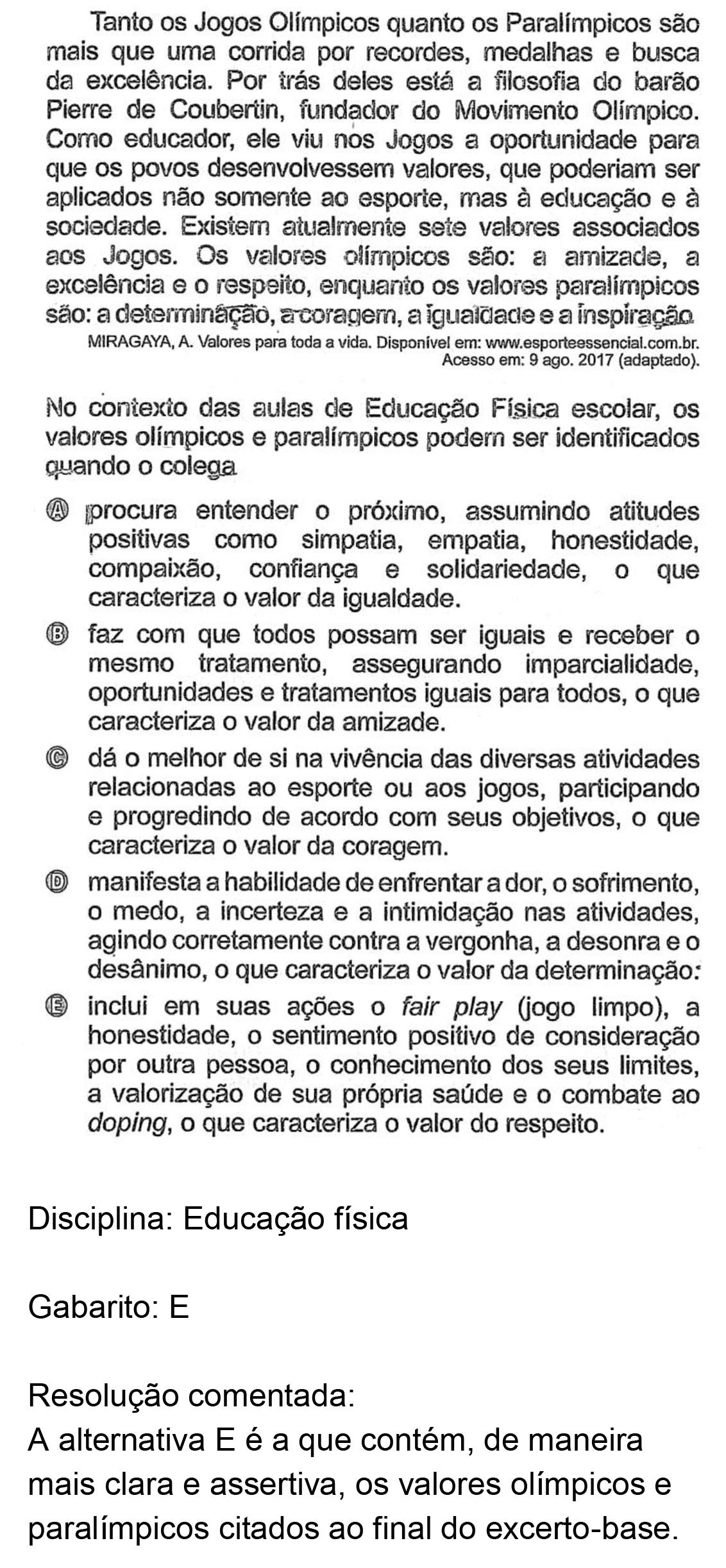 Resolução da questão 26: Prova Azul do ENEM 2018.
