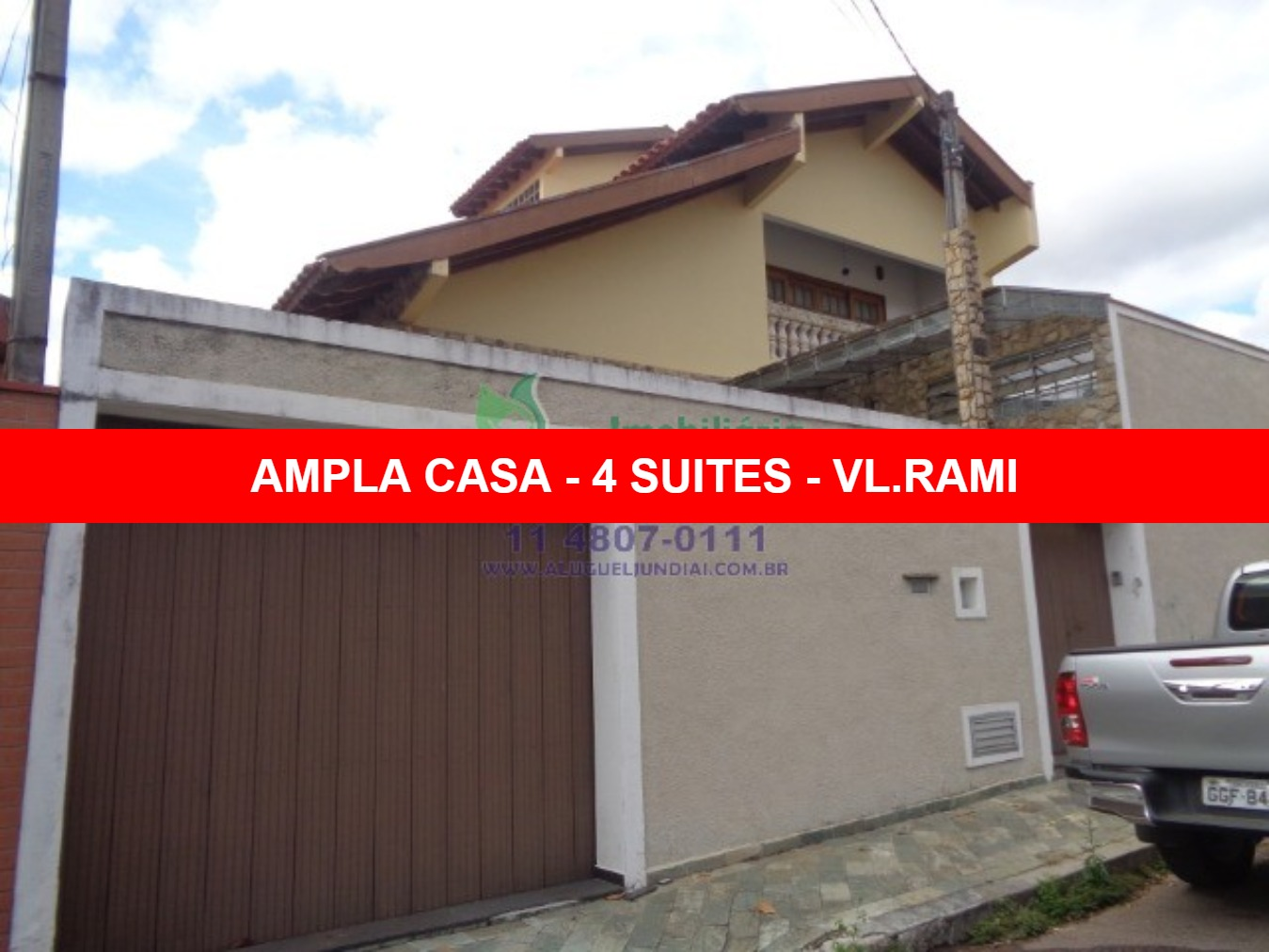 Excelente casa para locação em Jundiaí, com 490 m² de área construída, 04 dormitórios, sendo 04 suites (1 master) com armários, 02 cozinhas planejadas