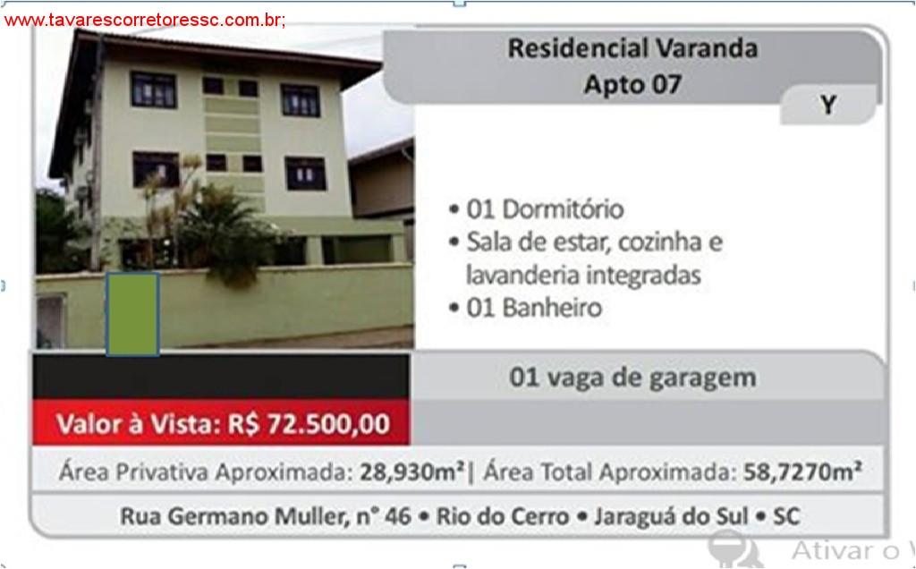 Vendo/troco aptos de área privativa 28,93 m²  e área total de 58,73 m²-Rio do Cerro- Jaraguá do Sul.   Valor R$ 72.500,00 Avista! Aceita-se carro + $;