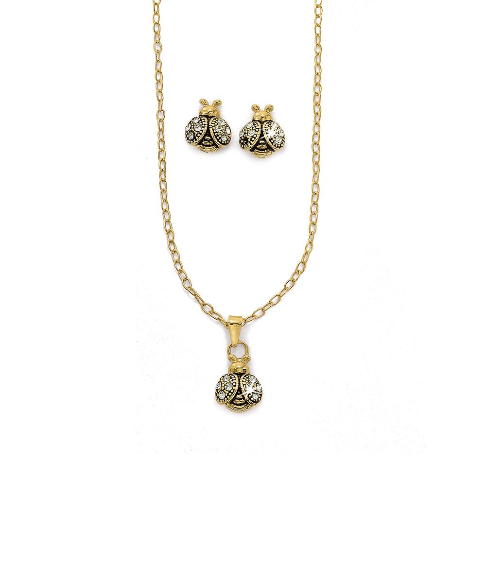 9d8a5a16d1a3d Hiroshima – Conjunto de Brincos e Gargantilha Joaninha Folheados a ouro com  strass e resina