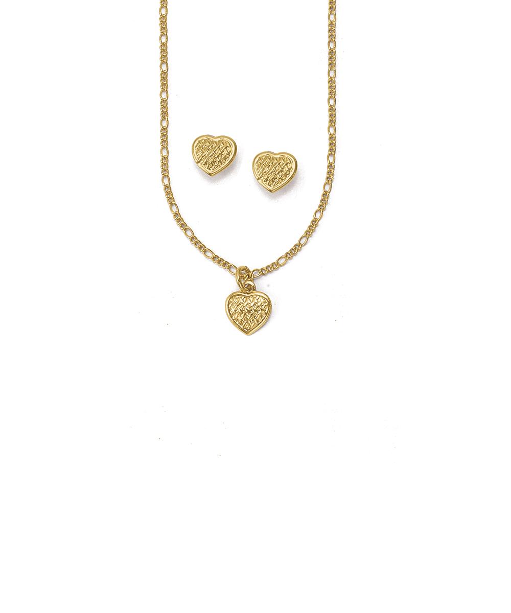 6561dce0de11b Hiroshima – Conjunto de Brincos e Gargantilha Amor Folheados a ouro
