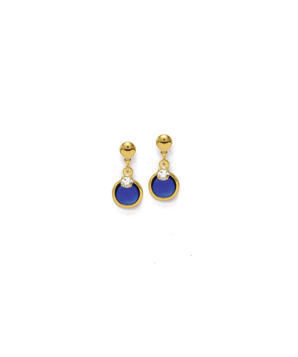 7b0cf1be1d729 Hiroshima – Brincos Azulado Folheados a ouro com strass e pedras sintéticas