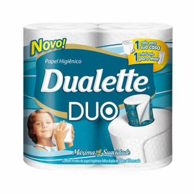 Papel Higiênico Dualette Duo Folha Dupla 30m c/4