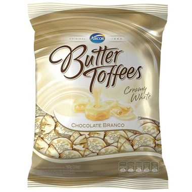 Balas Butter Toffees Chocolate Branco 130g