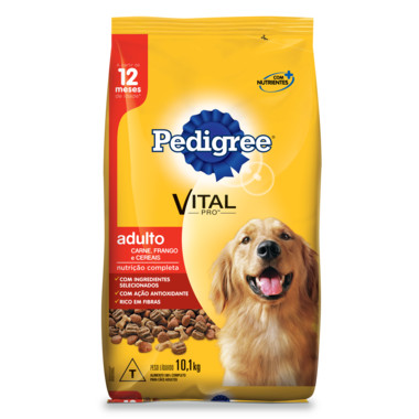 Ração para Cães Pedigree Vital Pro Adulto Carne, Frango e Cereais 10,1Kg