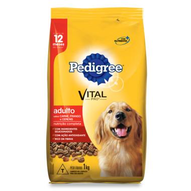 Ração para Cães Pedigree Vital Pro Adulto Carne, Frango e Cereais 1Kg
