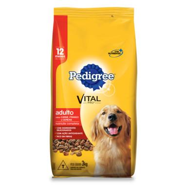 Ração para Cães Pedigree Vital Pro Adulto Carne, Frango e Cereais 3Kg