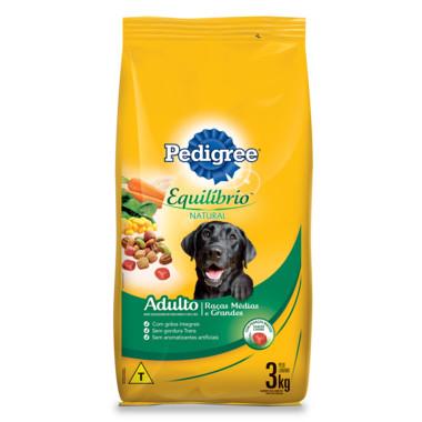 Ração para Cães Pedigree Equilíbrio Natural Adulto Raças Médias e Grandes 3Kg