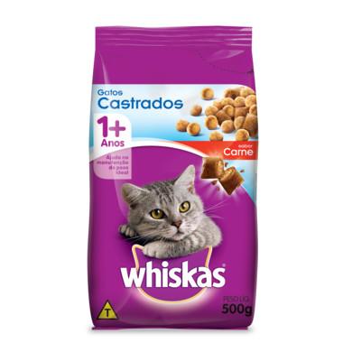 Ração para Gatos Whiskas Adulto Castrados Carne 500g
