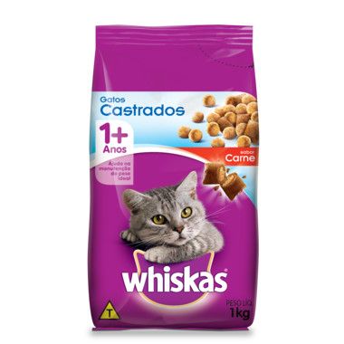 Ração para Gatos Whiskas Gatos Castrados Carne 1Kg