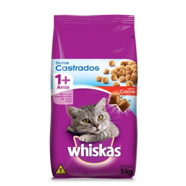 Ração para Gatos Whiskas Gatos Castrados Carne 3Kg