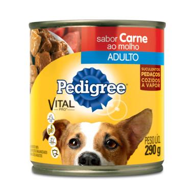 Alimento para Cães Pedigree Adulto Carne ao Molho Lata 290g