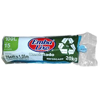 Saco para Lixo Emba Lixo Reciclado 100L c/15