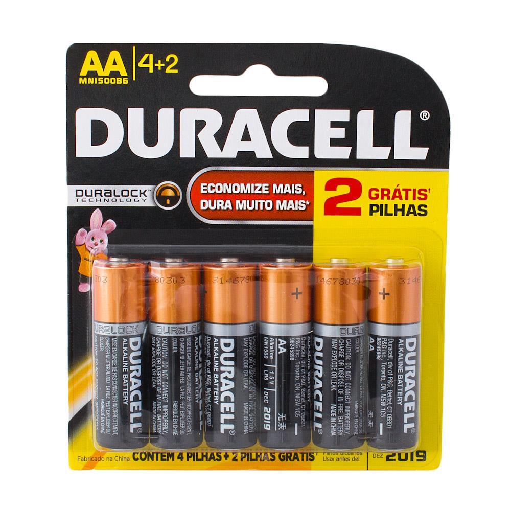 Pilha Alcalina Duracell Duralock AA c/6