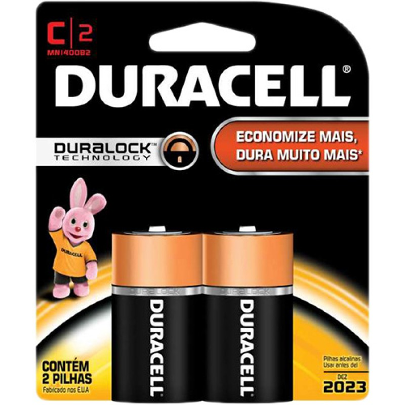 Pilha Alcalina Duracell Duralock C c/2