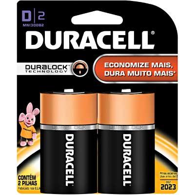 Pilha Alcalina Duracell Duralock D c/2