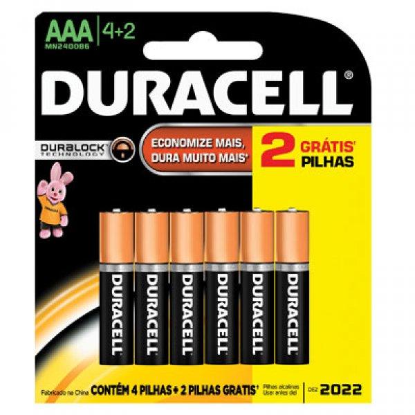 Pilha Alcalina Duracell Duralock AAA c/6