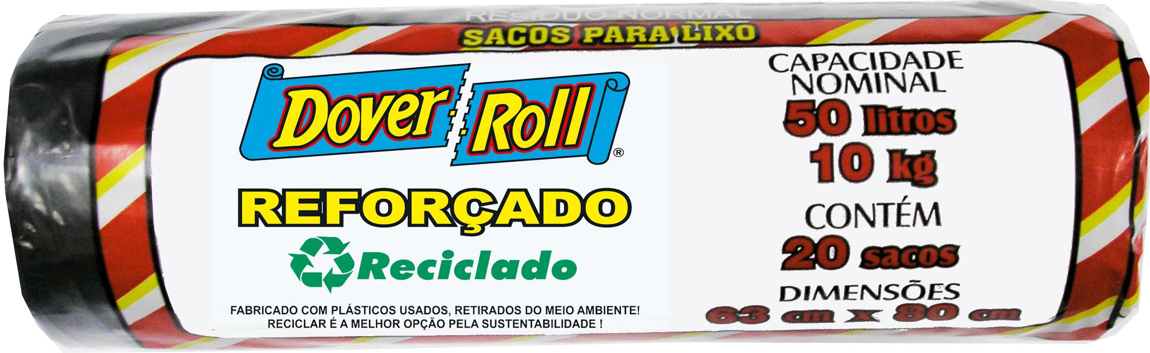 Saco para Lixo Dover-Roll Reforçado Reciclado 50L c/20
