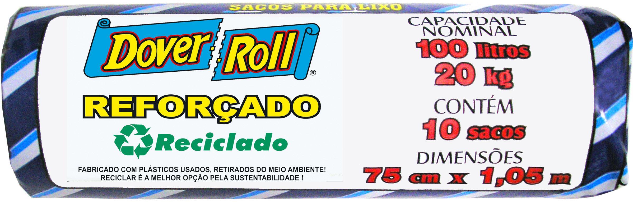 Saco para Lixo Dover-Roll Reforçado Reciclado 100L c/10