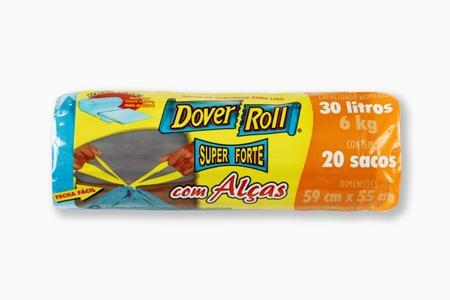 Saco para Lixo Dover-Roll Super Forte com Alças 30L c/20