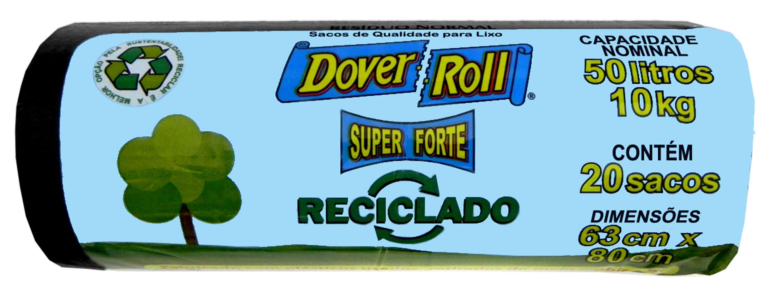 Saco para Lixo Dover-Roll Super Forte Reciclado 50L c/20