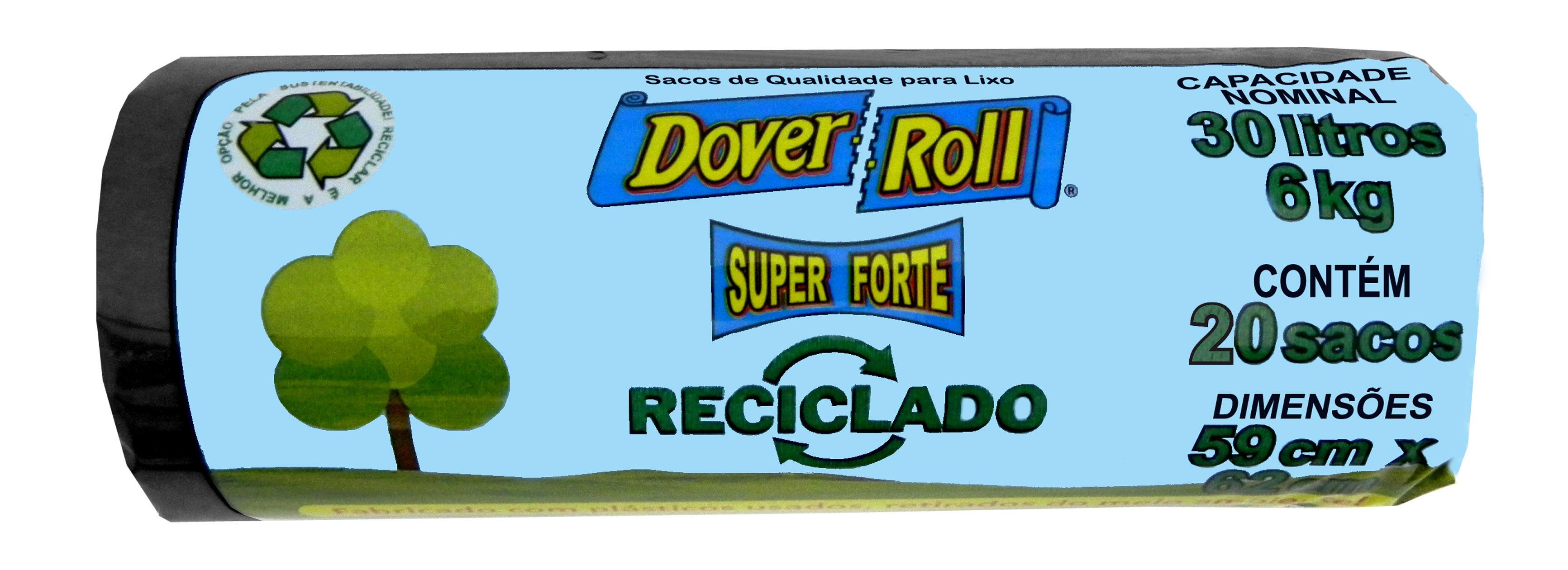Saco para Lixo Dover Roll Reciclado Preto 30L c/20