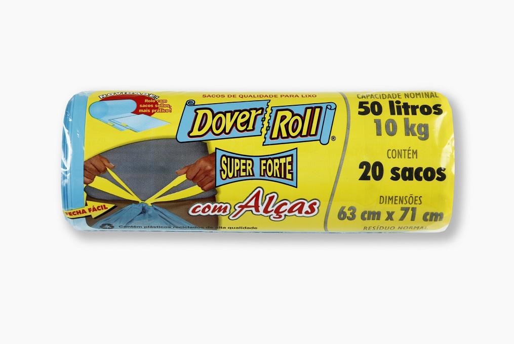Saco para Lixo Dover-Roll Super Forte com Alças 50L c/20