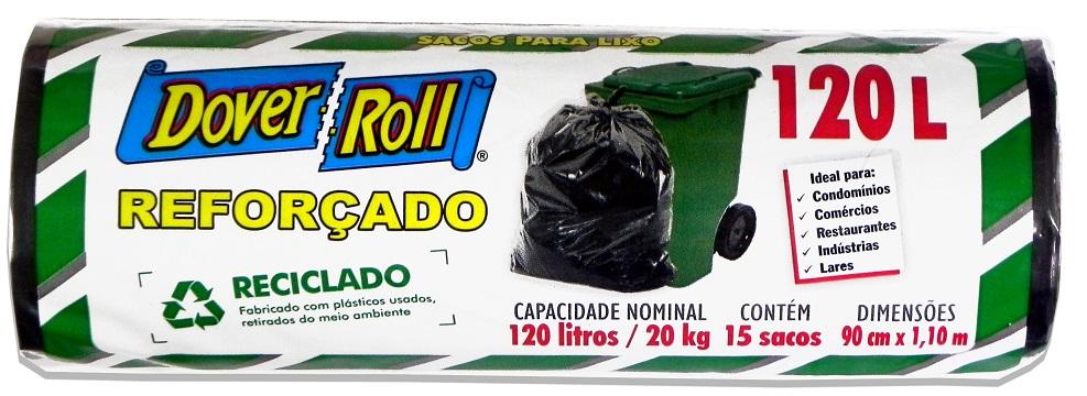 Saco para Lixo Dover-Roll Reforçado Reciclado 120L c/15