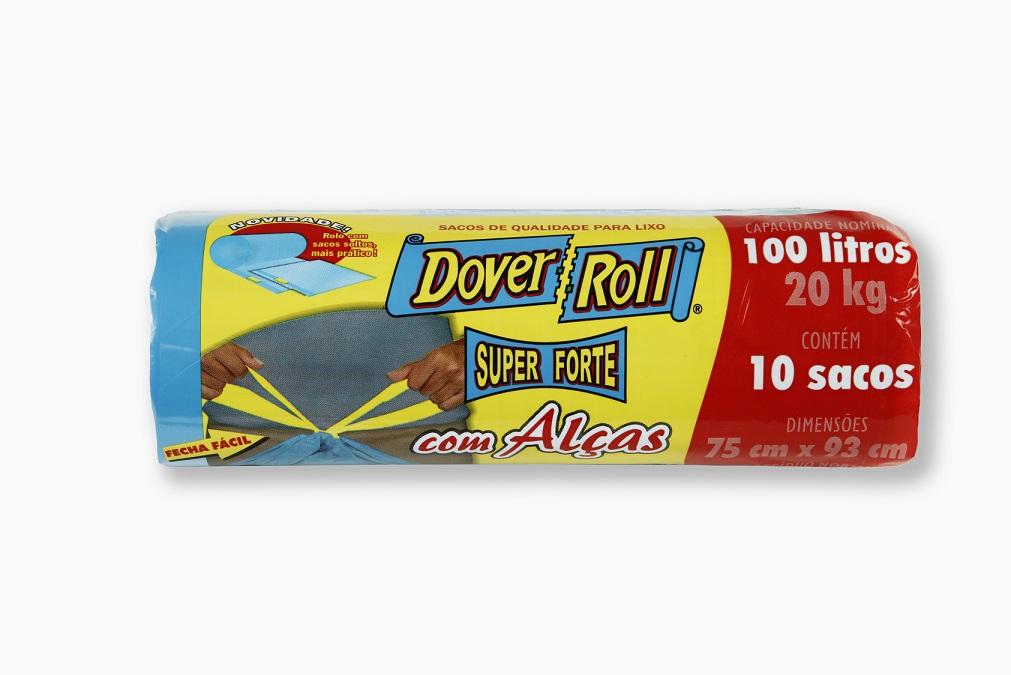 Saco para Lixo Dover-Roll Super Forte com Alças 100L c/10