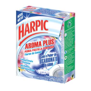 Bloco Sanitário Harpic Aroma Plus Flores do Campo com Rede 25g