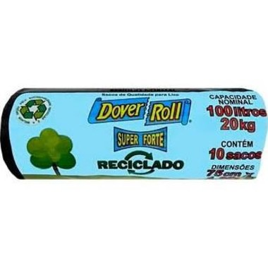 Saco para Lixo Dover-Roll Super Forte Reciclado 100L c/10