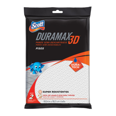 Panos Semi-Descartáveis Scott Duramax 3D para Limpeza de Pisos c/2