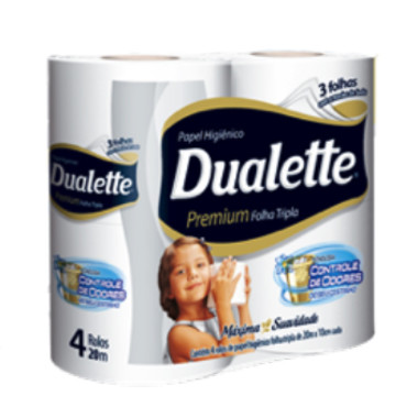 Papel Higiênico Dualette Premium Folha Tripla 20m c/4