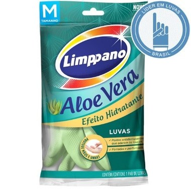 Luva Látex Limppano Aloe Vera M