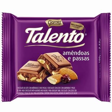 Chocolate ao Leite Talento com Amêndoas e Uva Passa 90g