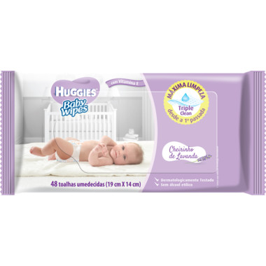 Toalhas Umedecidas Huggies Baby Wipes Lavanda c/48