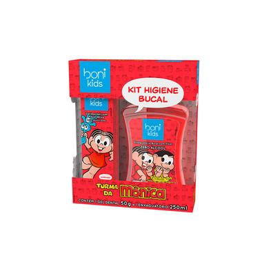 Kit Higiene Bucal Boni Kids Mônica  Morango Gel Dental 50g e Enxaguatório Bucal 250ml