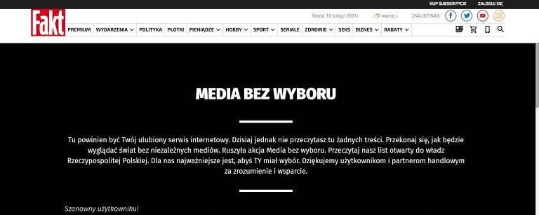 """Veículos de mídia fazem """"apagão de notícias"""" contra imposto na Polônia"""