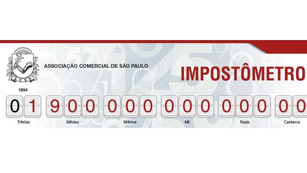 Impostômetro atinge marca de R$ 1,9 trilhão nesta quarta-feira às 7h30
