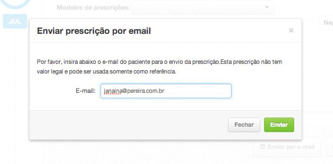 Enviar uma prescrição eletrônica por e-mail através do iClinic