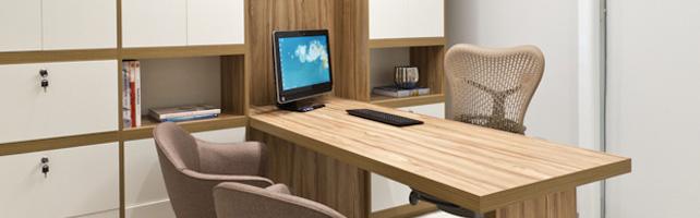 mobília em madeira em consultório médico decorar sua clinica