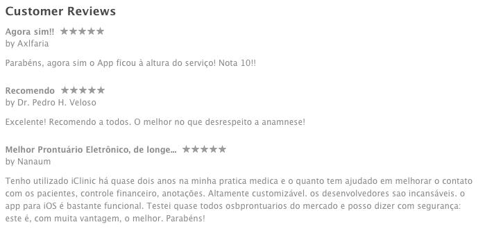 Avaliação de alguns dos usuários na App Store.