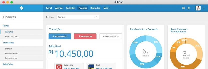 sistema medico iclinic modulo financeiro