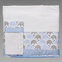a1be4f7615 Jogo de Lençol para Mini Cama Estampado com 3 Peças - 7131 - Elefante  Estrela Azul