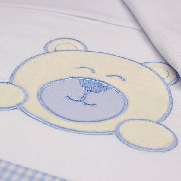 48656cd62 Jogo de Lençol Berço em Malha Família Urso Azul - LBM196C09 - Alô Bebê