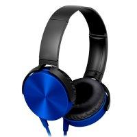 Auriculares Extra Bass con micrófono y cable 1.2m Azul al mejor precio solo en loi